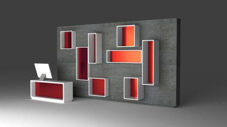 Conceptual retail wall template, 3d rendering illustration, original design