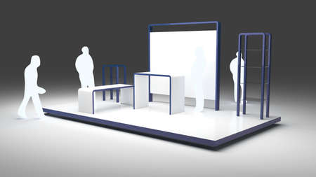 Empty exhibition booth with people outlines, copy space illustration, original design 3d rendering