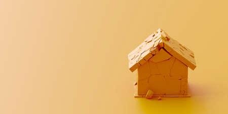 Broken house, housing market metaphor 版權商用圖片