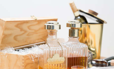Liquor, nuts and wine, food and drink winter concepts 版權商用圖片