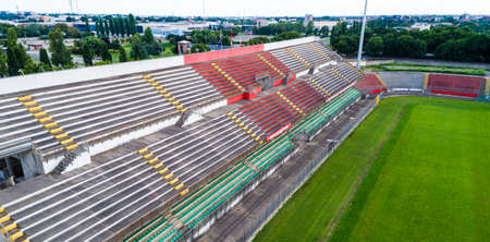 MONZA, ITALY - CIRCA AUGUST 2020: city soccer stadium, photo taken with a drone