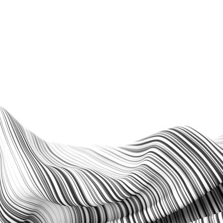 Abstract background, fluid and organic white shape with black stripes, original 3d rendering 版權商用圖片