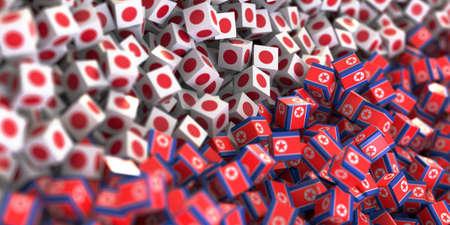 North Korea and Japan political problem, original 3d rendering conceptual illustration