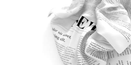 Abstract newspaper in a fluid shape, 3d rendering