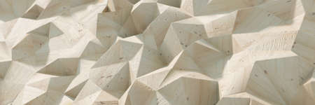 Abstract polygonal background, with a realistic wooden texture. Original 3d rendering, wide horizontal format with copy space 版權商用圖片