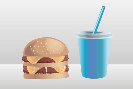 Burger, two beef patties, with a soda cup illustration.