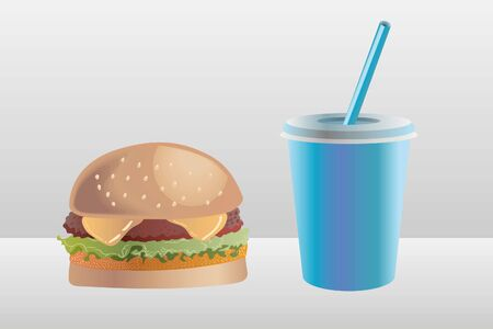 Burger, beef patie and a chicken nugget, with a soda cup illustration.