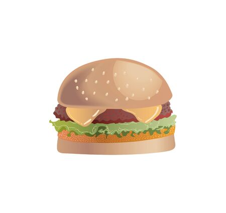 Burger with a beef patty and a chicken white background Vectores