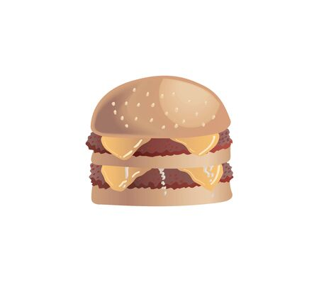 a burger with two beef patties on a white background.