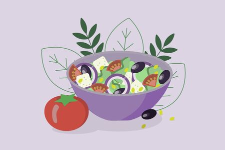 Greek salad on a plate. Cooking infographics.  イラスト・ベクター素材