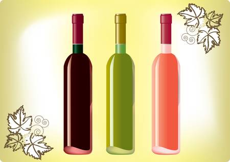 Red, white, rose wine bottles