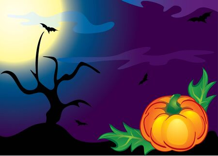 doomed: Halloween pumpkin, trees and bats on the moon and night sky clouds.