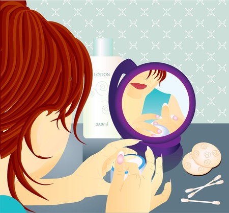 Young women putting cream on face looking at the mirror.