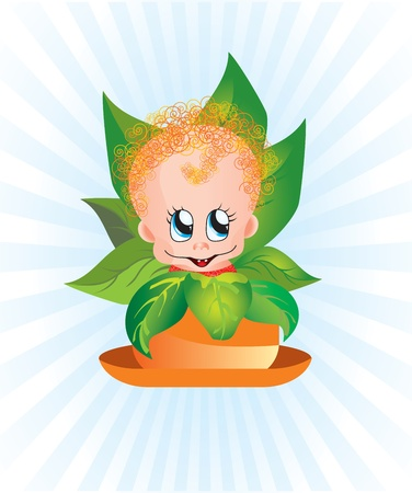 Curly baby sitting in a flower pot surrounded by floral leaves.