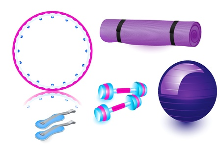 sports equipment: fitball, healthy hoop, dumbbells, rug, weighting compounds in violet, Pink and blue colors Illustration