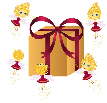 Set of cute fairies with gift box Vector