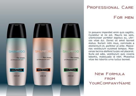 plastic: Man shampoo fles met etiket sampel