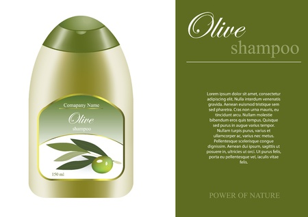 Olive shampoo bottle with sampel label Vector