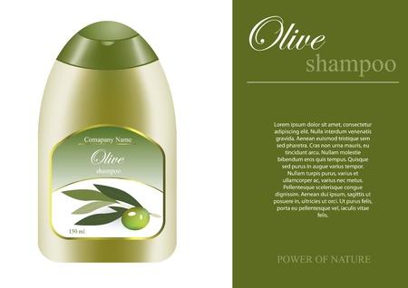 Olive shampoo bottle with sampel label