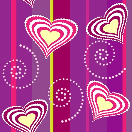 Seamless heart and swirl background with colorful lines Çizim