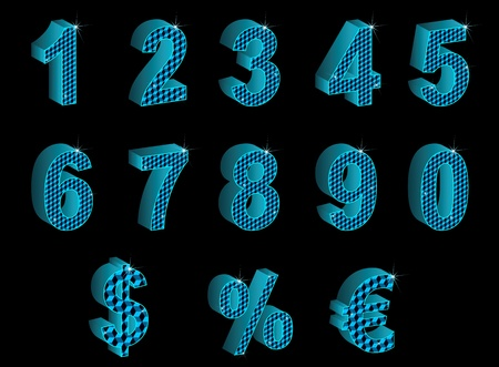 Set of blue vector 3D numbers, percent, euro and dollar with sparkles on  black.
