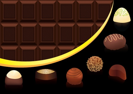 Chocolate candys with seamless chocolate bar Vector