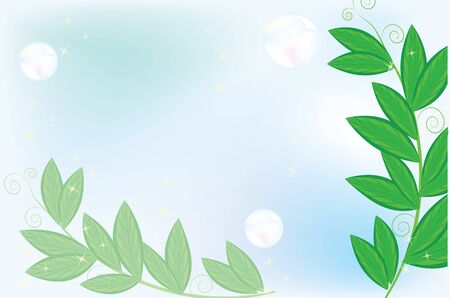 Spring nature background with leaves and bubbles on the blu sky