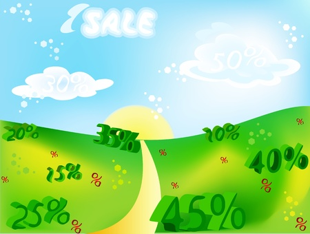 Sale percent on the nature background