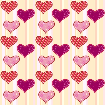 Seamless heart background in pink colors Illustration