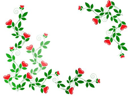 Growing green leaves with red hearts Illustration