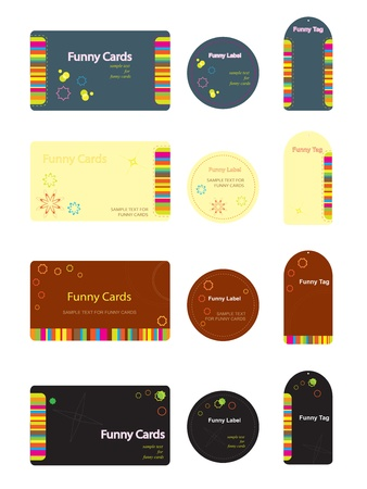 modern business: Funny cards labels and tags in for different variations. Illustration