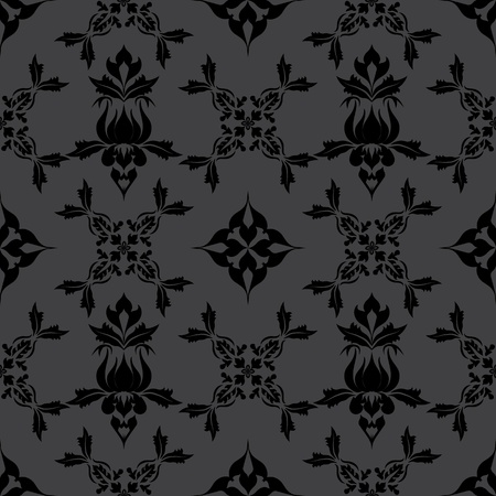 Damask wallpaper pattern, floral seamless ornament.