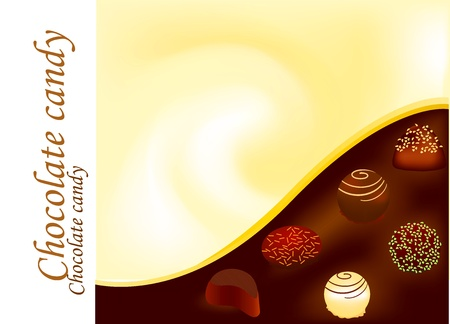 Chocolate candy with candy box Vector