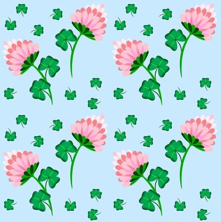 Beauty Floral Seamless Pattern mit Klee und blauem Hintergrund