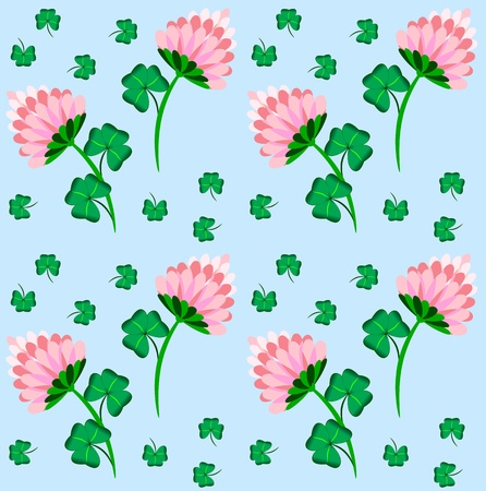 Beauty floral seamless pattern with clover and blue background