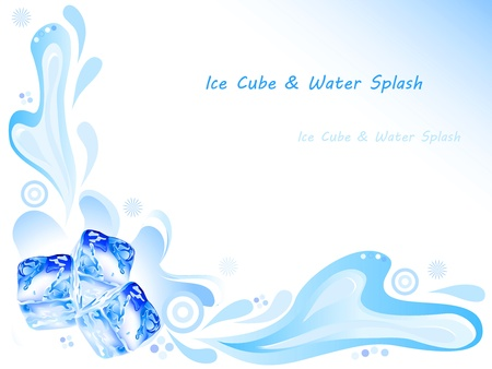 Ice cube and water splash with ornaments on blue background Vector