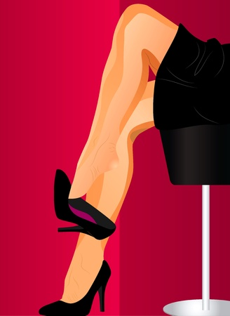sexy woman legs palying with black shoes Flirt Illustration