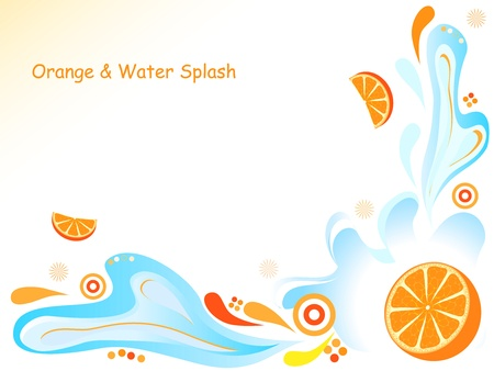 Fresh orange with water splash and abstract ornamets Vector