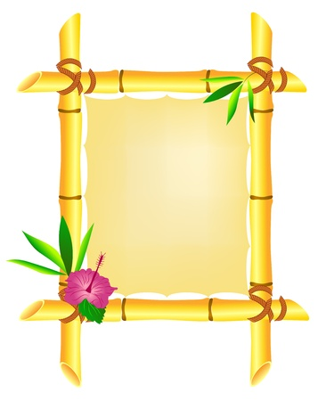 Bamboo frame with hibiscus flower and leaves isolated on white Çizim