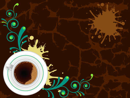Coffee cup on abstract floral and grunge background Illustration