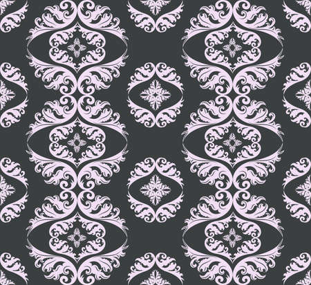 Seamless damask pattern background gray and pink