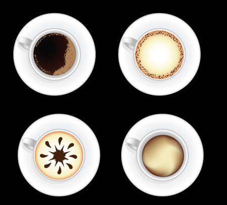 Set of decorated coffee cups isolated on black background