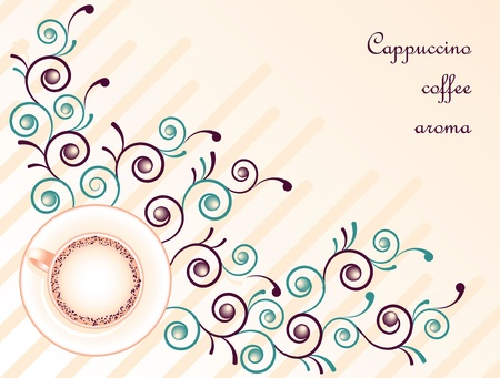 Cappuccino coffee on pink floral abstract background Illustration