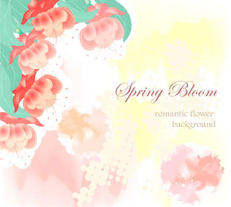 Romantic Flowers on abstract wedding background