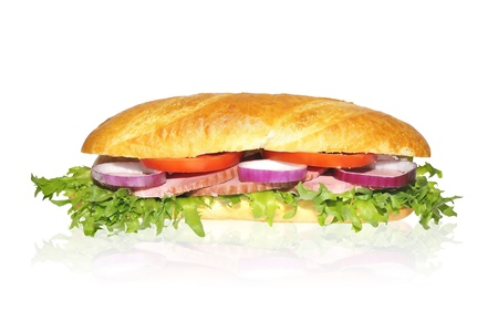 Sandwich with lettuce hum tomato and red onion isolated on white photo