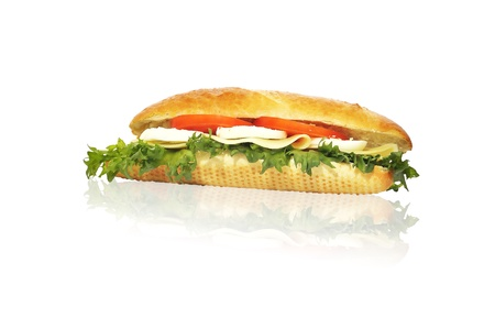 vegeterian sandwich with lettuce cheese tomato and egg isolated on white