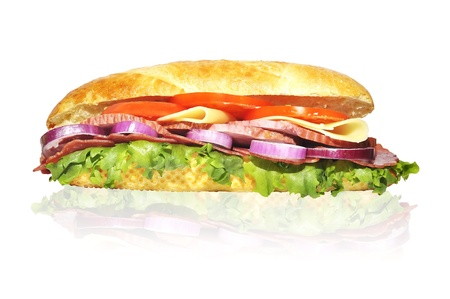 sandwich with lettuce hum tomato cheese and red onion isolated on white Stock Photo