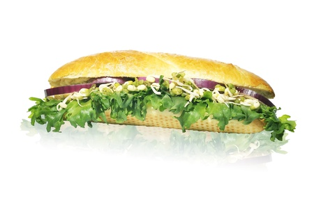 red gram: vegeteriansandwich with lettuce red onion and sprouted green gram isolated on white