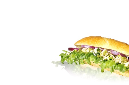 vegeterian sandwich with lettuce red onion and sprouted green gram isolated on white