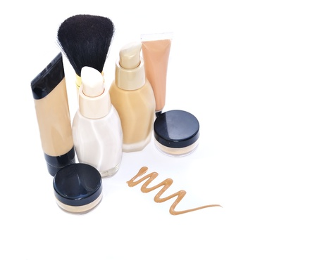 cosmetic products: Make up  set foundation, powder, conceler, minerals, base isolated on white Stock Photo